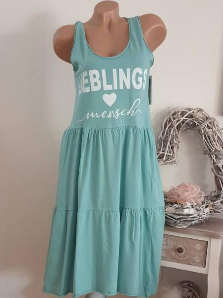 türkis Trägerkleid Statement 36 38 40 Tunika Kleid Stufenkleid