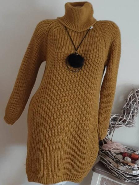 Grobstrick ocker gelb Strickkleid Kleid Stiefelkleid 36 38 40 Rollkragenkleid