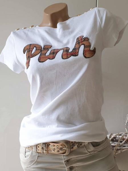 Ausgefallenes stretchiges L 40 T-Shirt Shirt Pailetten Glitzer Goldknöpfe weiss NEU