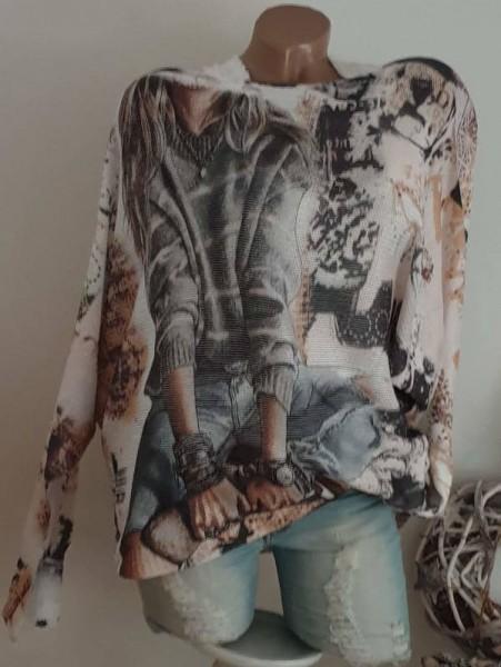 Fashionprint Pulli Feinstrickpulli Tunika 40 42 44 Pullover Fledermausarm