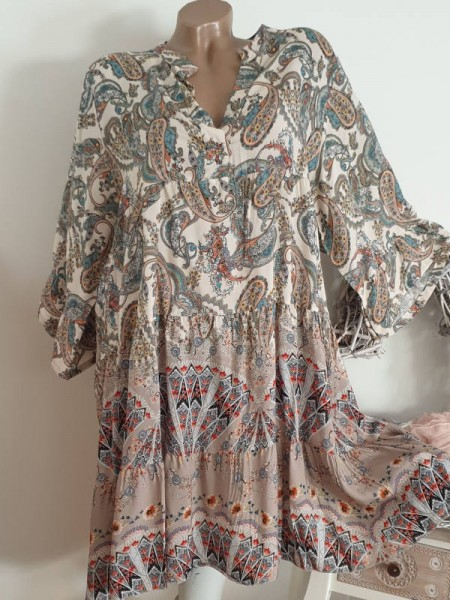 Kleid 40 42 44 weiss Paisley gemustertes Tunika Hängerchen Viskose