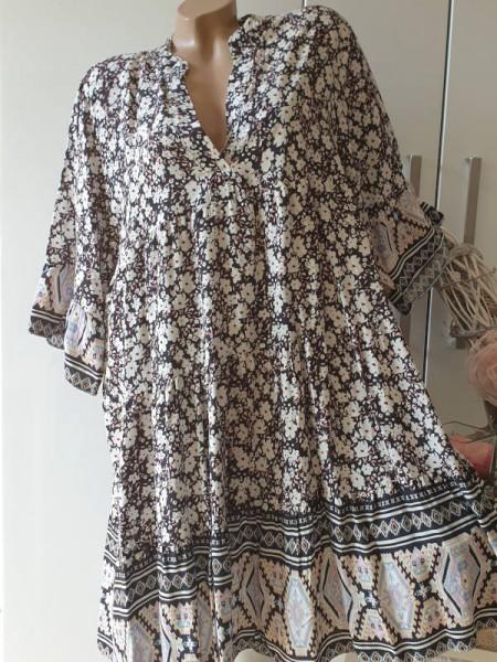 Tunika Viskose Kleid gemustert schwarz weiss 40 42 44 Hängerchen