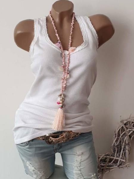 Halskette rosa Splittersteine Steine Boho Kette Perlen Quasten Neu