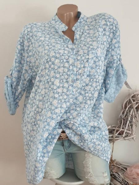 Bluse Millefleurs Leinenoptik Hemdbluse 40 42 44 Tunika Italy hellblau Baumwolle
