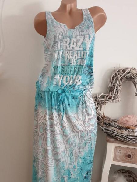 L 40 Maxikleid weiss türkis grau Print Kleid MISSY Tunnelzug tiefe Taille bunt