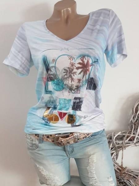 türkis bunter Print XL 42 NEUV-Neck MISSY T-Shirt Shirt