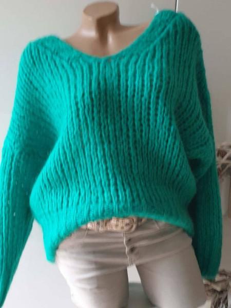 Pulli Mohair Wolle türkis oversized Grobstrick Knit Pullover 36 38 40 NEU