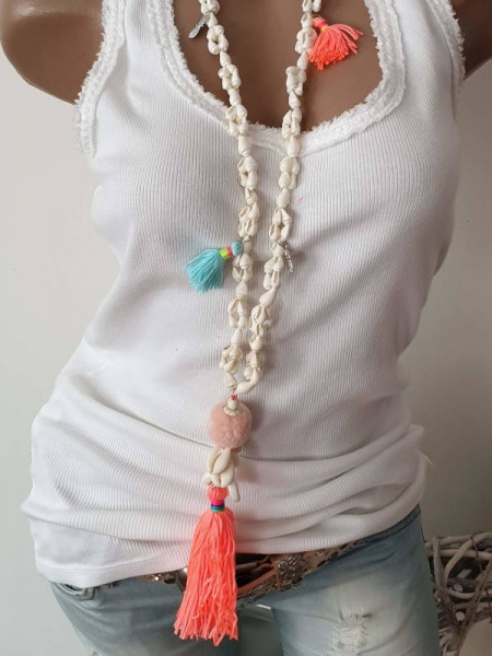 Kette Muschelkette weiss neon Bunt Quaste Damenkette neu