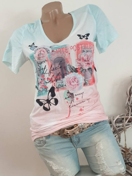 MISSY T-Shirt Tunika Romantik Print NEU 38 V-Neck Shirt