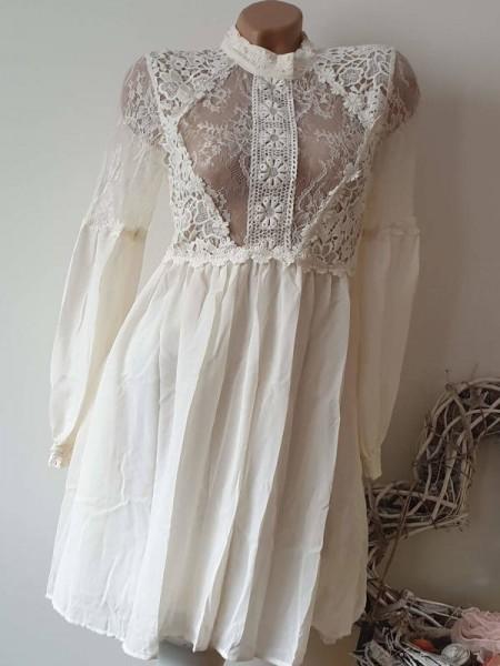 S 36 Spitzenkleid tailliert Stickerei Kleid Spitze Tunika beige Empirekleid