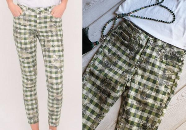 TOXIK3 edle Skinny Jeans Hose Stretch Skinnyjeans XS/34 = 32 grün mit Glitzer