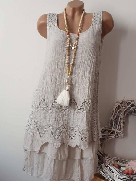 36 38 40 Tunika Kleid 2-lagig Stufenkleid beige Stickerei Spitze