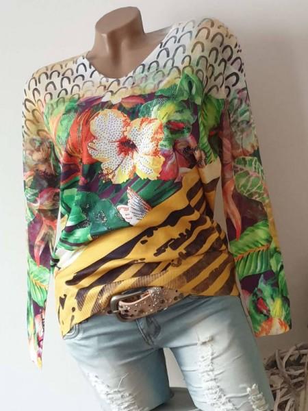 Feinstrickpulli S/M 36 38 Pulli Pullover floral bunt Print V-Neck MISSY