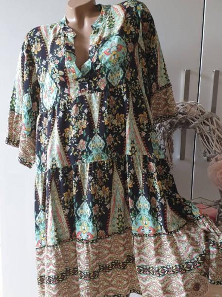 Tunika Viskose Kleid gemusterte 40 42 44 Hängerchen