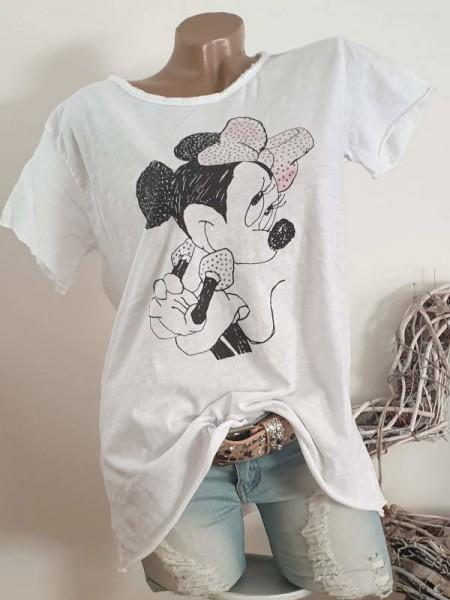 T-Shirt 40 42 44 Tunika Glitzer Nieten süsse Mouse weiss Italy Shirt