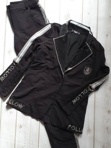MISSY Anzug M 38 2Tlg Hose und Blazer Set viel Glitzer Lurexstreifen Emblem