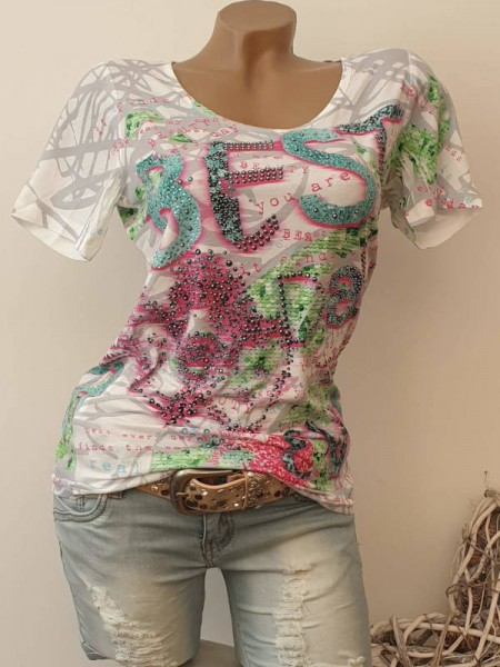 MISSY T-Shirt Shirt M 38 Glitzer Nieten bunter Letterprint NEU