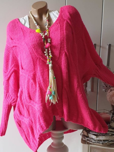 oversized Pullover Zopfmuster V-Neck pink 38 40 42 44 Strick Pulli