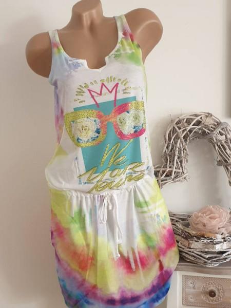 Ärmelloses Kleid Tunika XL 42 tiefe Taille Multicolor Farbverlauf MISSY Tunnelzug Glitzer
