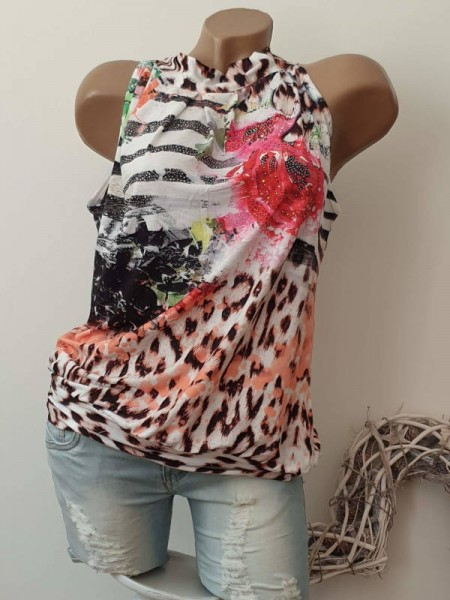 Tunika Top Leo Animal Rosenprint Longtop L 40 42 Ballonform Bündchen MISSY