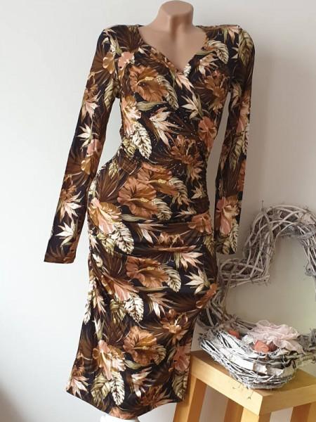Kleid L 40 Wickeloptik Glitzer Nieten Langarm MISSY Stretch Kleid Tropicalprint