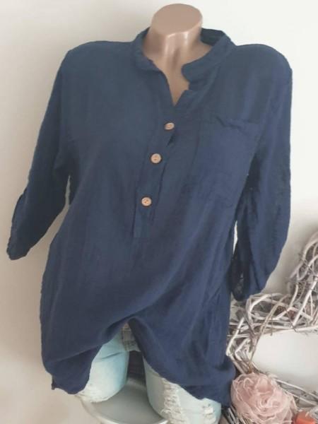 dunkelblau nachtblau Leinenoptik Italy Hemdbluse 40 42 44 lässige Tunika Bluse