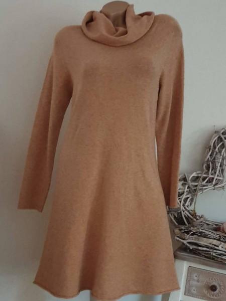 Feinstrickkleid Kleid Strickkleid 36 38 40 Rollkragen A-Form Rollbündchen ocker
