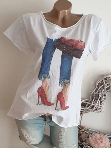 T-Shirt Shirt 36 38 40 Tunika weiss Fashion Print Glitzer Nieten unfinished