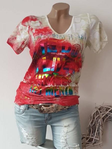 V-Neck MISSY T-Shirt Shirt L 40 weiss rot bunt Hologrammprint NEU