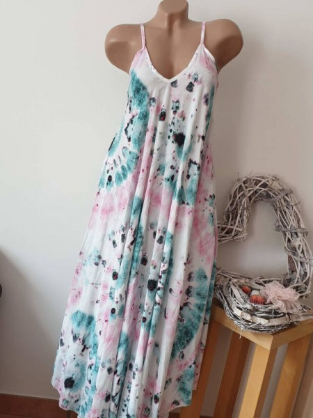 Maxikleid 38 40 42 türkis pink gebatikt Italy Trägerkleid Kleid Sommerkleid Neu