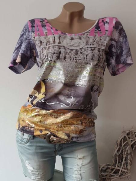 XL 42 Shirt bunt Gold Silber Letterprint NEU MISSY T-Shirt