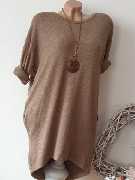2tlg Tunika Flausch Kleid 40 42 44 Shirtkleid Kette Angora beigebraun Taschen