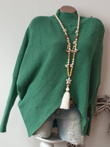 grün Pullover Rippoptik Stehkragen vorne asymetrisch Pulli Onesize Neu