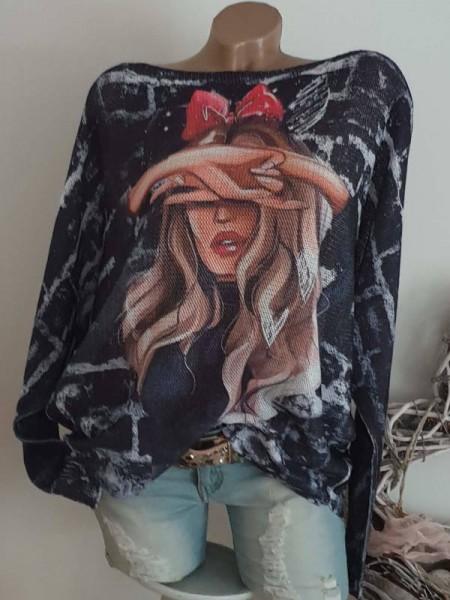 Tunika 40 42 44 Pulli Pullover Fashionprint Fledermausarm Feinstrick