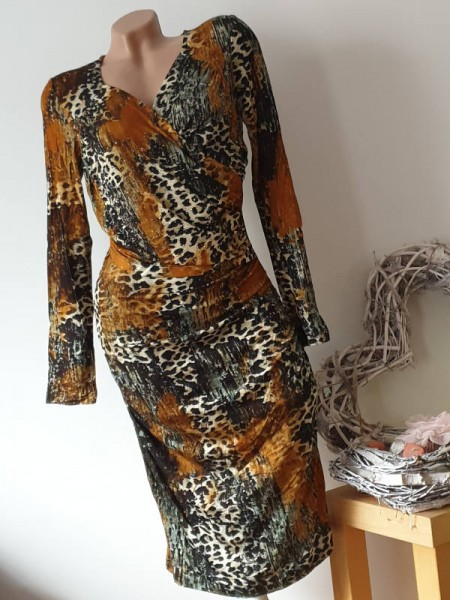 Kleid Wickeloptik Leo rost gemustert L 40 Glitzer Nieten Langarm MISSY Stretch