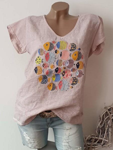 Tunika Kurzarmshirt rosa Neu 38 40 42 Shirt Print Baumwolle hinten stretchig