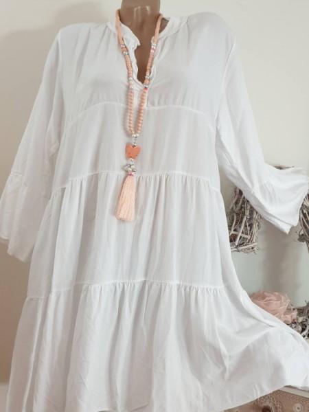 Tunika Kleid 40 42 44 weiss Italy Neu Hängerchen Viskose