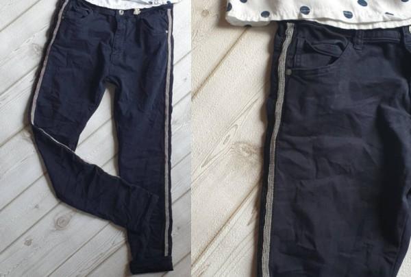 navyblau dunkelblau MELLY & CO Hose XS 34 silber Metall Perlen Streifen Jeans