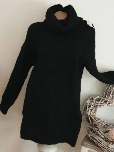 warmes Strickkleid Kleid 38 40 42 Rollkragen schwarz Rollkragenkleid