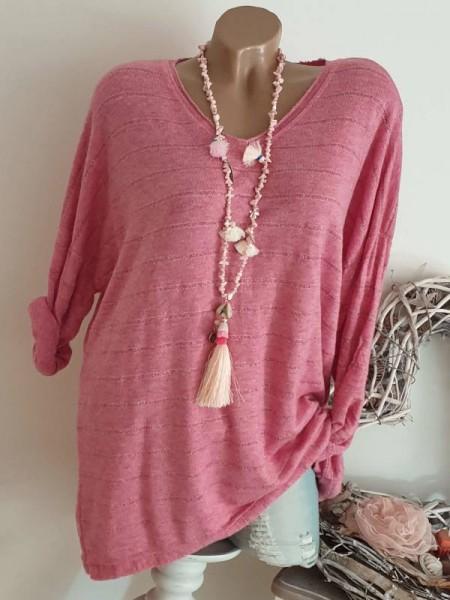 Oversized Lurexgarn Flausch 40 42 44 Feinstrick Tunika Pulli Pullover pink