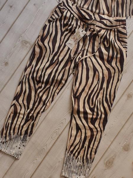 S 36 Baggy Tunnelzug Hose Zebra Mix Print MISSY fester stretchiger Stoff Neu
