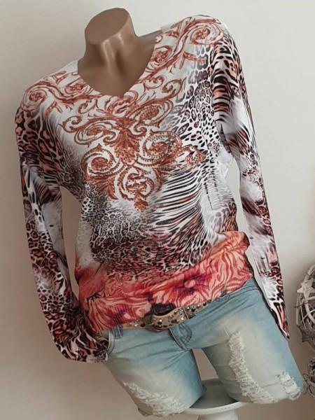 L/XL 40 42 Pulli Pullover V-Neck MISSY Feinstrick Leo Paisley FLower Print