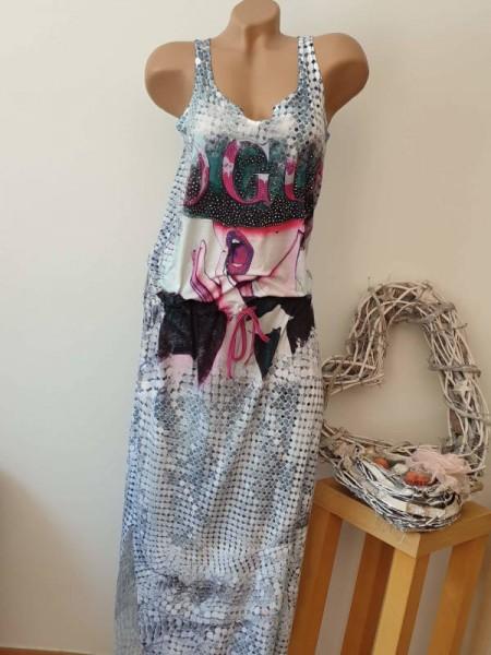 MISSY Tunnelzug tiefe Taille L 40 Sommerkleid Maxikleid Kleid lang bunt