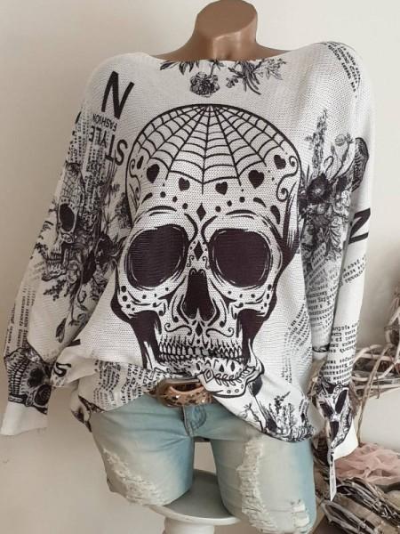 Tunika 40 42 44 Pulli Pullover Skull Print Fledermausarm Feinstrick