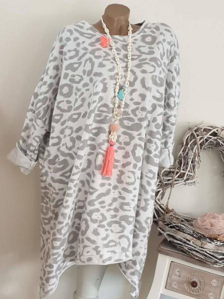 Sweatshirtkleid Kleid long Tunika 44 46 48 NEU Italy weiss grau Leo