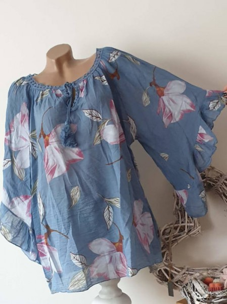 weite Ärmel jeansblau floral Tunika Bluse 44 46 48 50 Baumwolle Italy