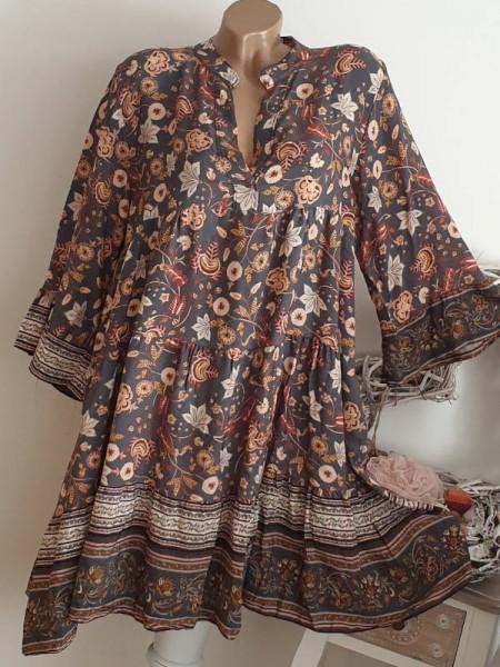 gemustertes Tunika Kleid 38 40 42 44 Hängerchen Viskose schwarz bunt