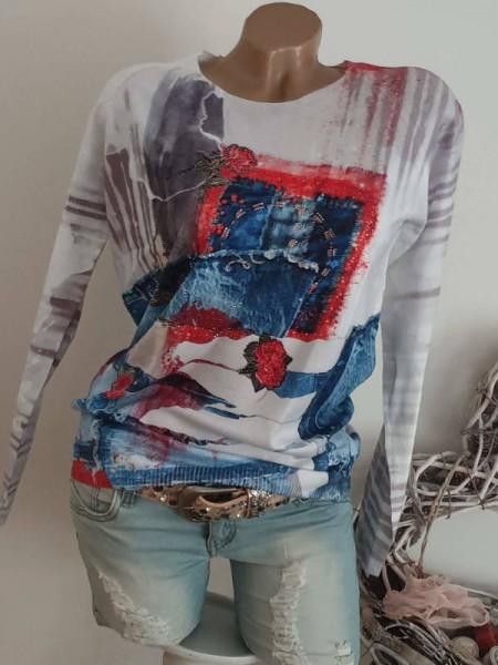 L/XL 40 42 weiss jeansblau rot Pullover MISSY gemusterter Feinstrick Glitzer