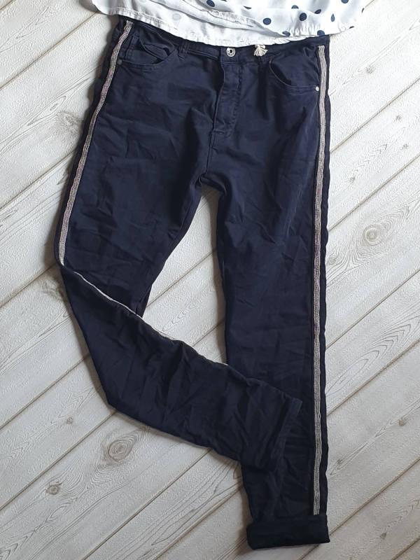 af6021397f8fee silber Metall Perlen Streifen Jeans XL 42 navyblau dunkelblau MELLY   CO  Hose