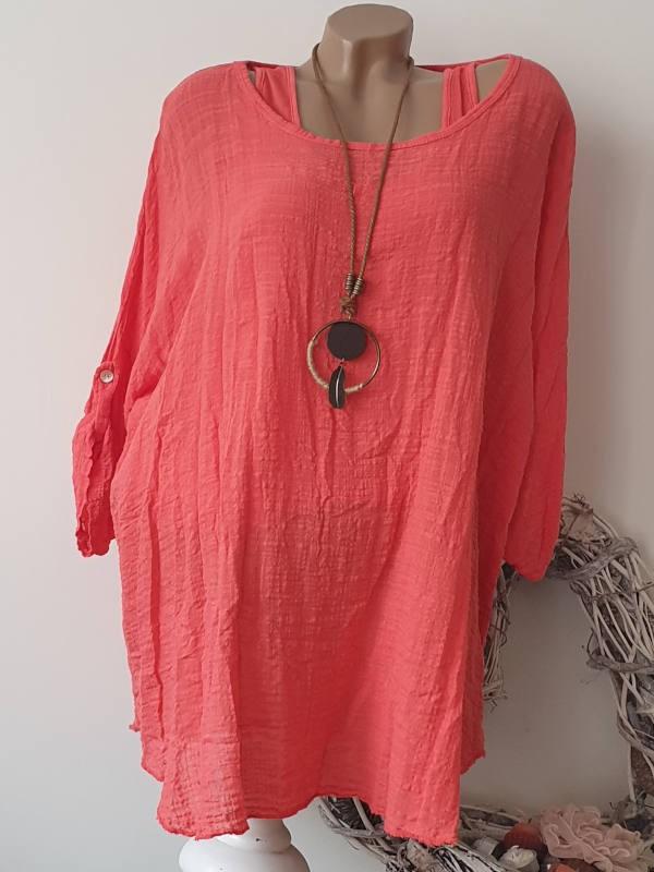 Italy Mode  Bluse Tunika Hemd Fischerhemd  42-44-46   Luftiges Übergrösse